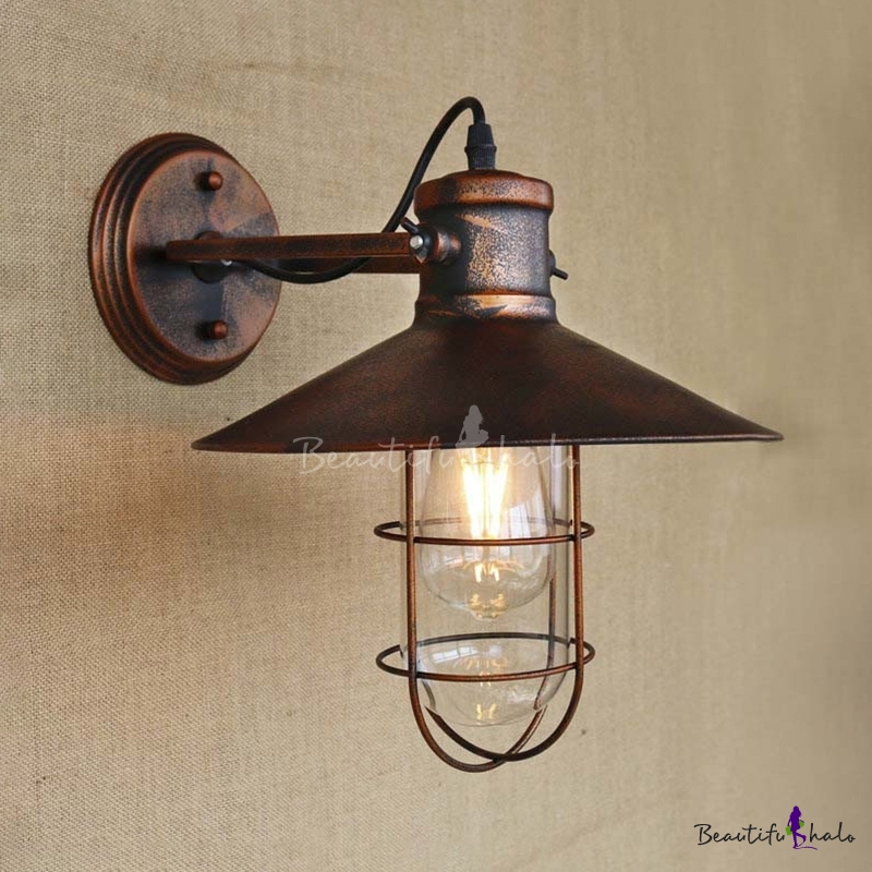 single light antique copper nautical wall sconce with cage. Black Bedroom Furniture Sets. Home Design Ideas