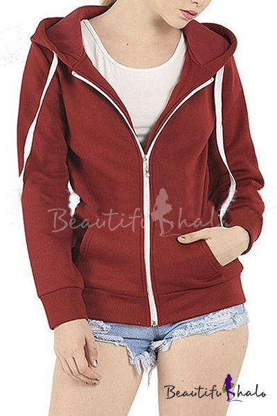 Buy Women's Plain Hoodie Hooded Zip Zipper Top Sweat Shirt Jacket Sweater