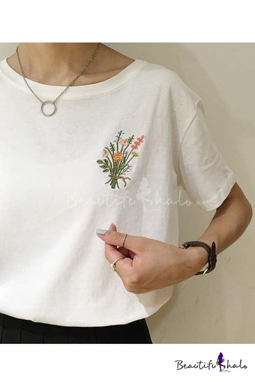 Fashion embroidered floral round neck short sleeve t shirt