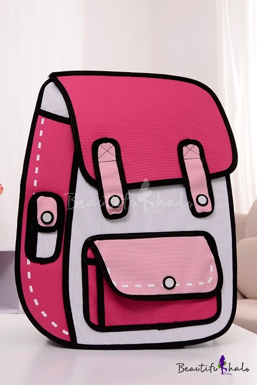 Buy Fashionable Cartoon Color Block Backpack School Bag/Travel Bag