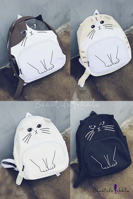 Buy Fashion Cute Cartoon Cat Print Backpack School Bags Travel