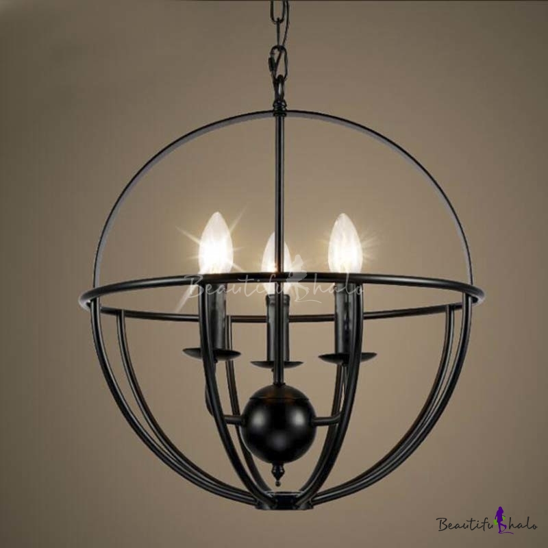 Orb Chandelier Light 14 Atomic Light Fixture Industrial: 16'' Wide Wrought Iron Black Globe Chandelier With 3 Light