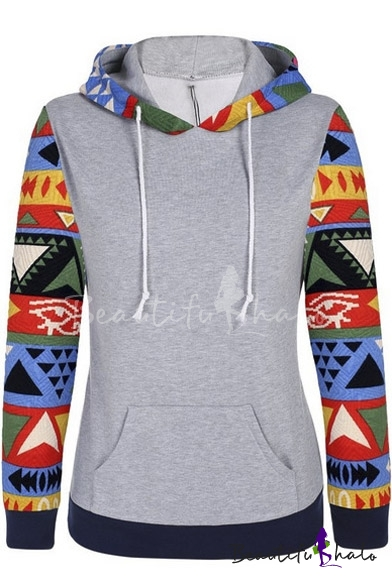 Buy Women's Geo Printed Long Sleeve Hooded Pullover Hoodies Sweatshirt