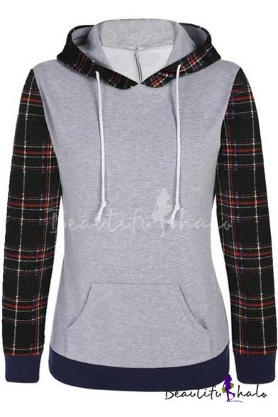 Buy Women's Plaid Printed Long Sleeve Hooded Pullover Hoodies Sweatshirt