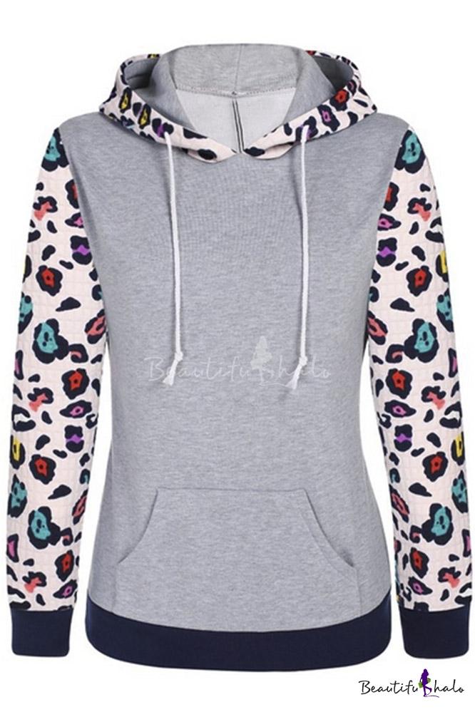 Buy Women's Floral Printed Long Sleeve Hooded Pullover Hoodies Sweatshirt