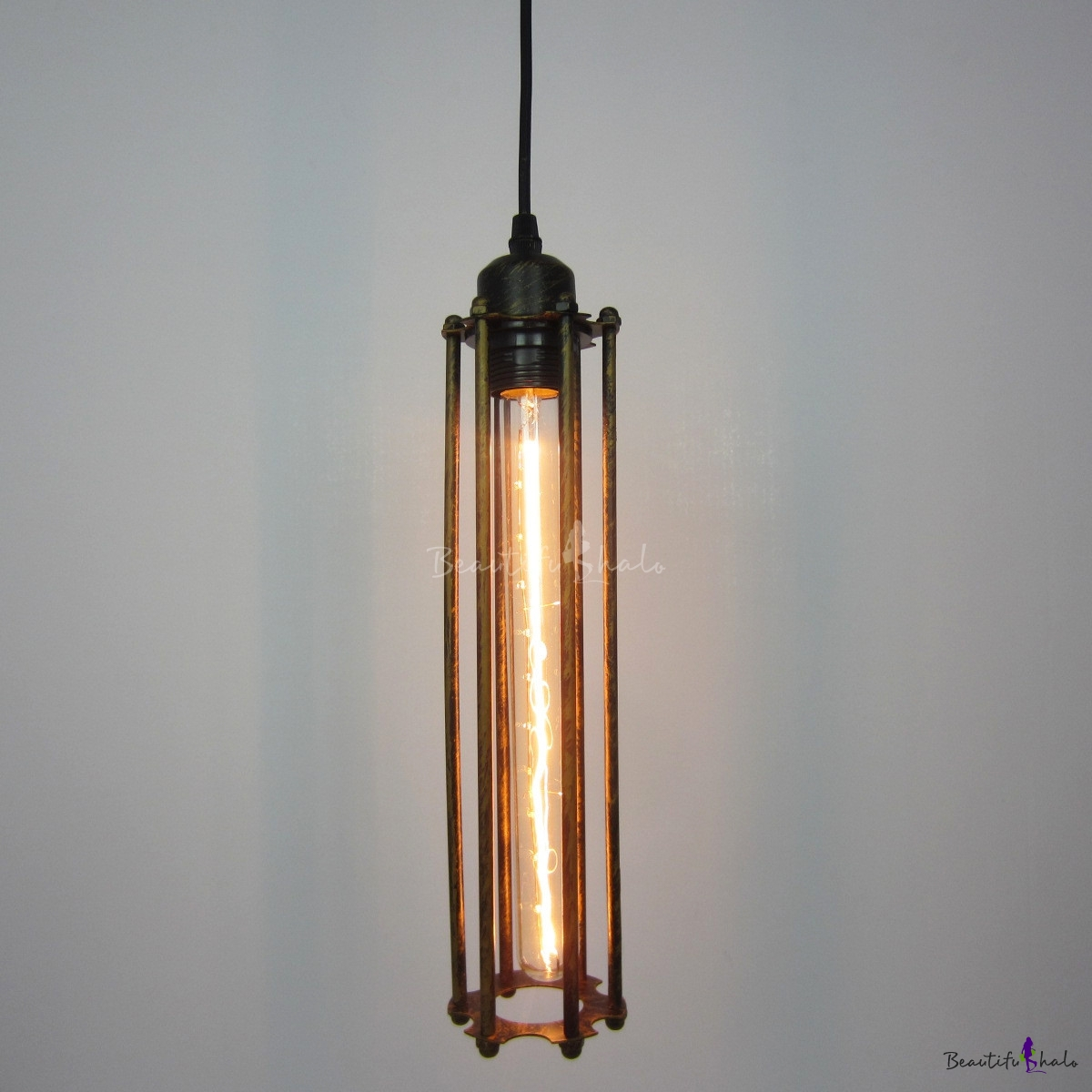 Buy 15'' H Single Light Wire Cage Pendant Antique Brass Finish