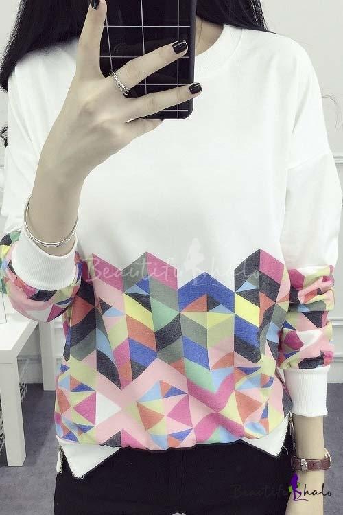 Buy 2016 Fashion Geo Print Zip Detail Round Neck Long Sleeve Thin Sweatshirt
