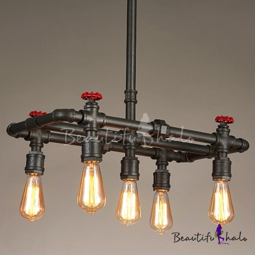 Buy 1 Tier Industrial Foyer Chandelier Rustic Iron Pipe