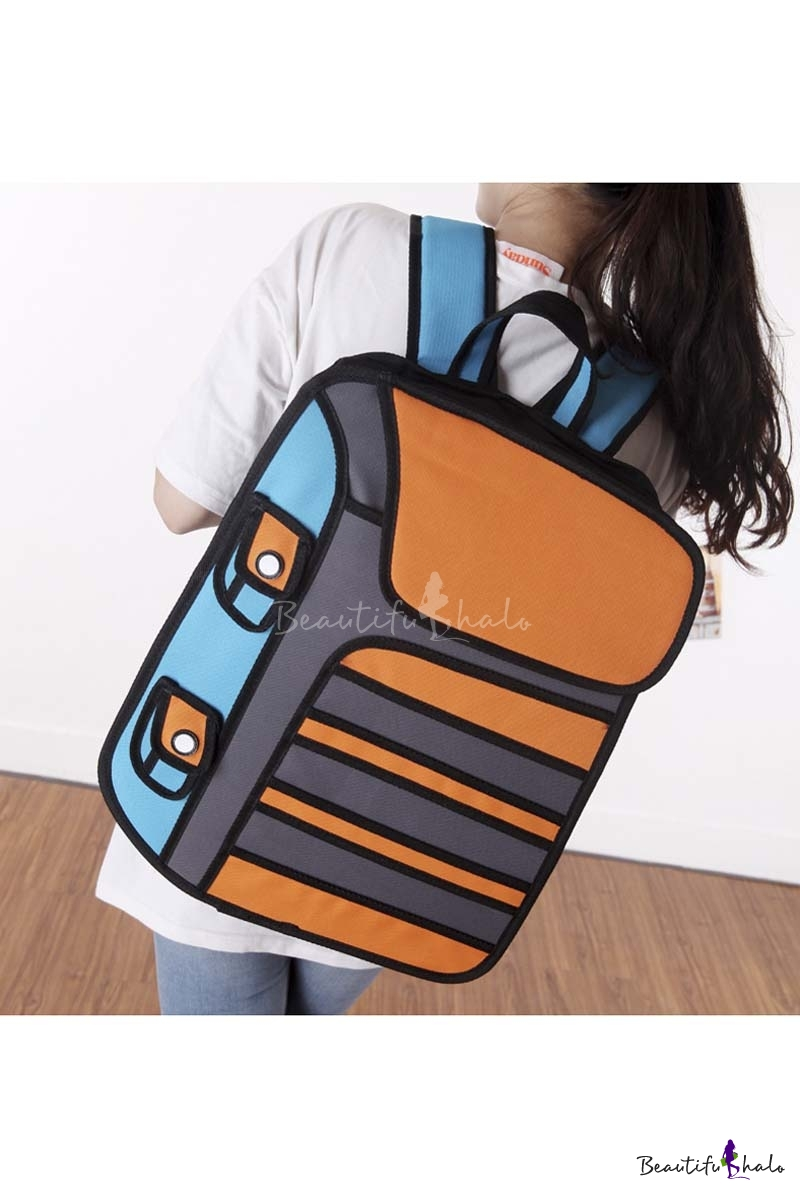 Buy 2016 New Fashion Cartoon Color Block Backpack Laptop Bag/School Bag/Travel Bag