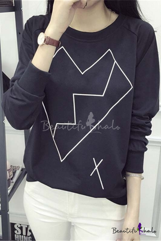 Buy 2016 Autumn Round Neck Long Sleeve T-shirt Top Sweatshirt