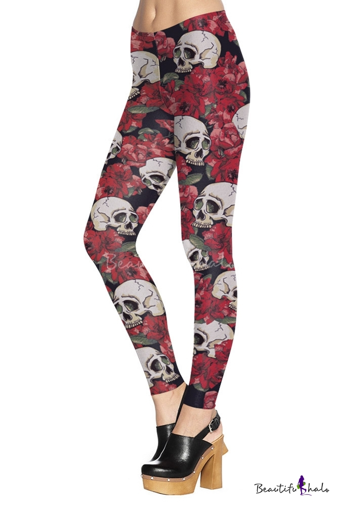 Buy Women's Fashion Rose Skull Digital Printed Leggings
