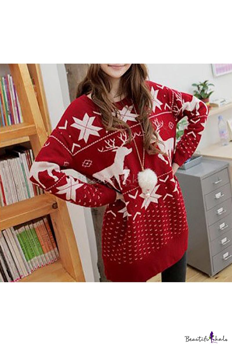 Buy Women Christmas Pullover Santa Reindeer Deer Snowflake Norway Print Red Baggy Long Tops