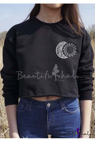 Buy 2016 New Fashion Moon Print Round Neck Long Sleeve Cropped Sweatshirt