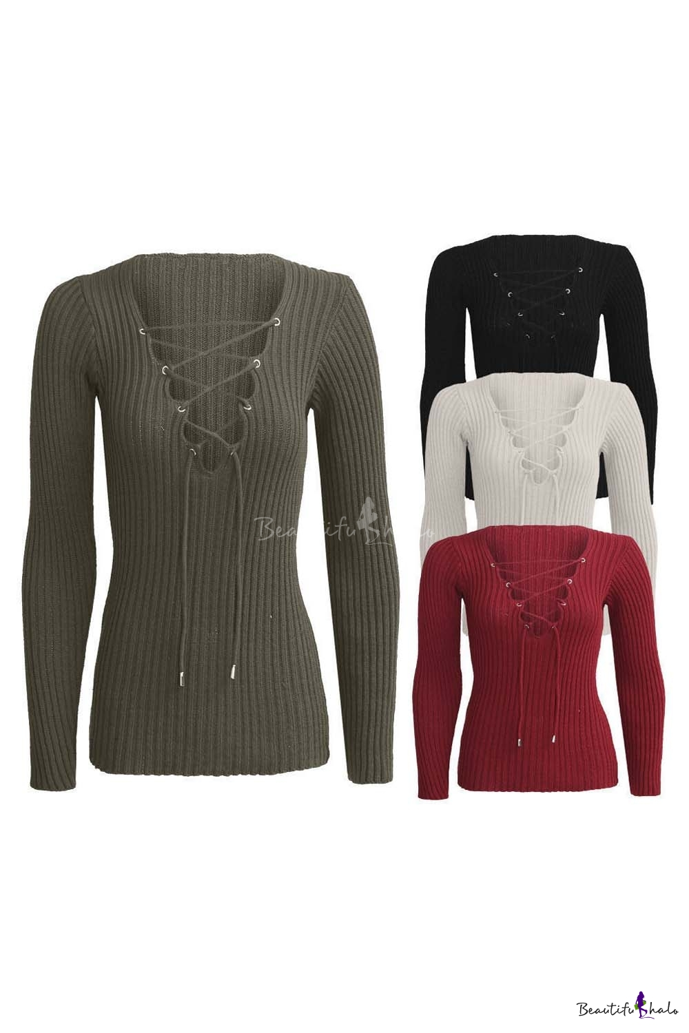 Buy Women's Sexy Lace-up Deep -neck Long Sleeve Knitted Top Sweater