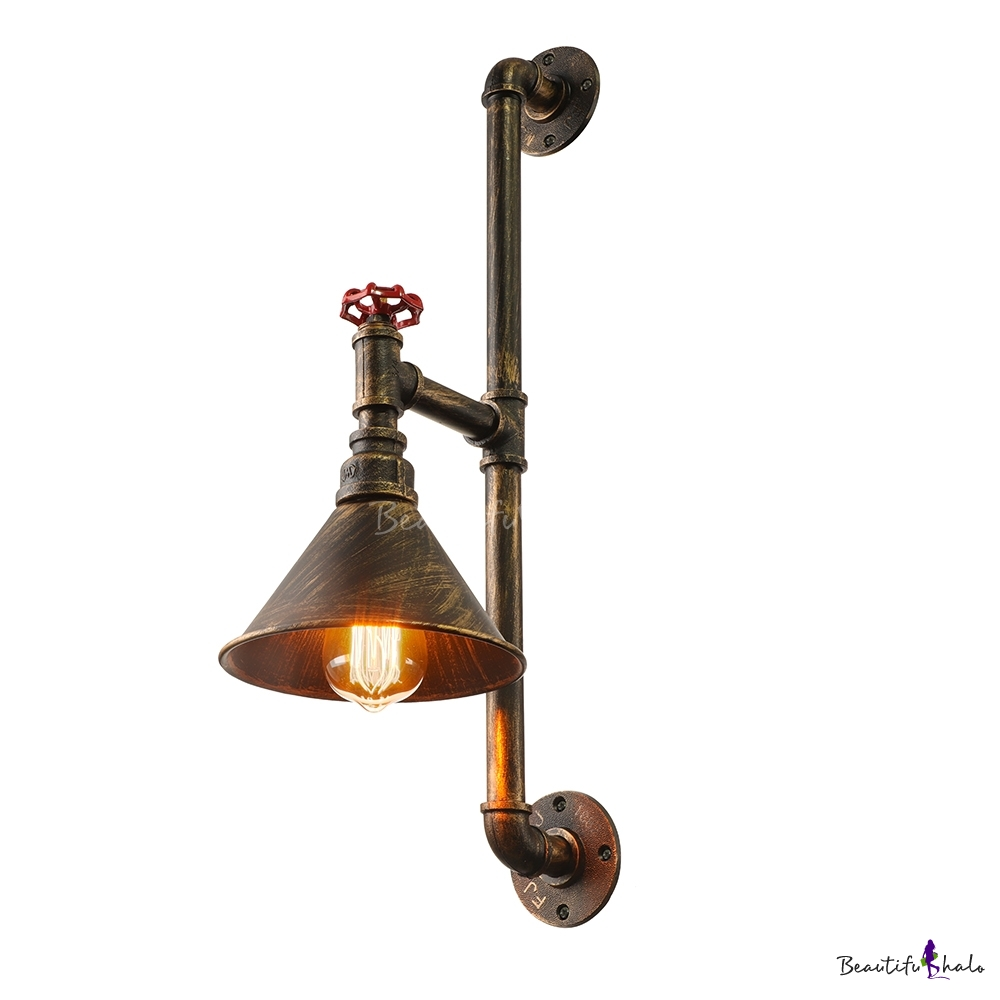 Industrial Pipe Wall Light: Industrial Style 20'' H Single Light Cone Metal Shade Pipe