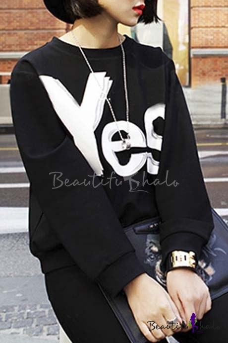 Buy Fashion Unisex YES/NO Sweatshirt Fall Spring Letter Print Pullover