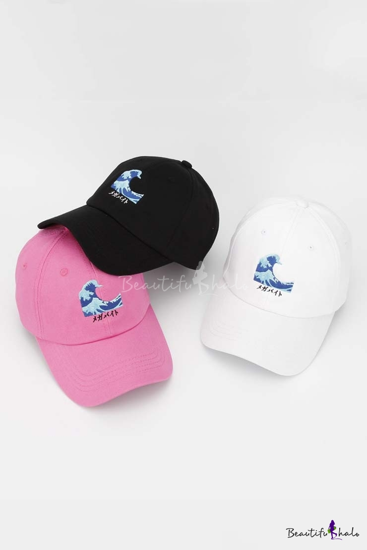 New Arrival Fashion Wave Embroidered Baseball Caps Unisex Outdoor Caps