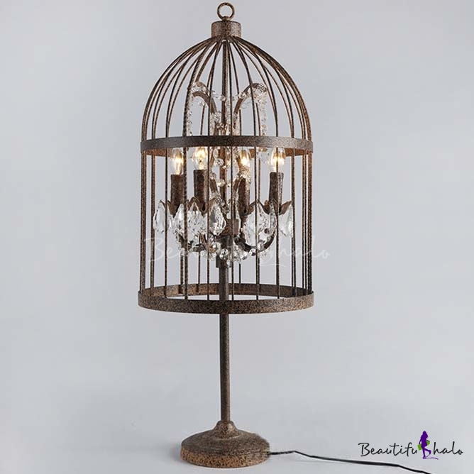 rust iron 4 light bird cage table lamp with crystals. Black Bedroom Furniture Sets. Home Design Ideas