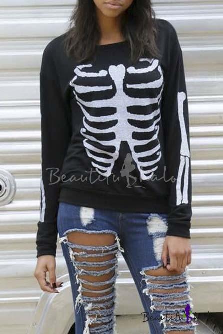 Buy 2016 New Fashion Skeleton Print Long Sleeve Round Neck Sweatshirt Black/White