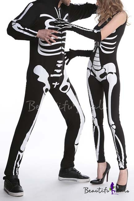 Buy Hot Skeleton Print Halloween Costume Party Jumpsuit