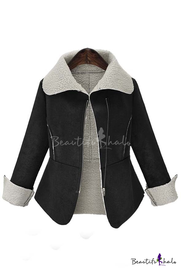 Buy 2016 Fall Winter Trendy Contrast Trim Long Sleeve Lapel Coat