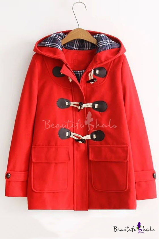 Buy Fall Winter Hooded Neck Toggle Single Breasted Long Sleeve Coat Double Pockets