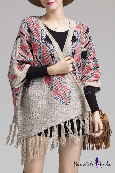Buy Open Placket Batwing Sleeve Tribal Print Tassel Trim Poncho Cardigan