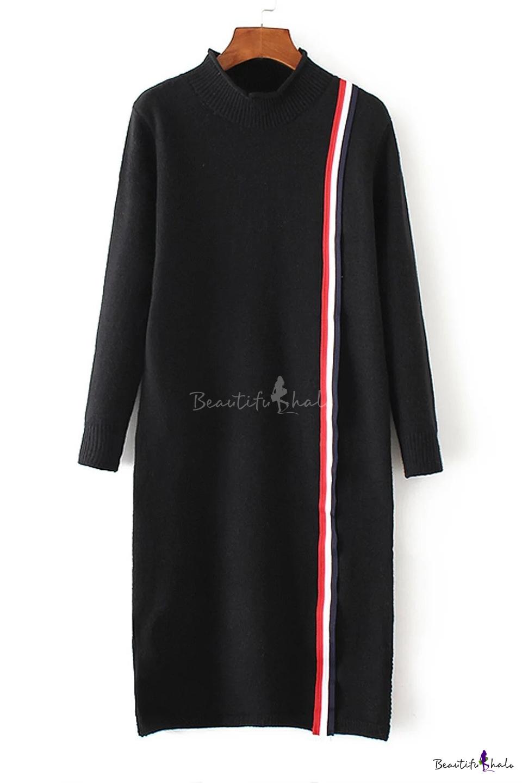 Buy Stylish Stripe Detail Mock Neck Split Hem Long Sleeve Knitted Dress