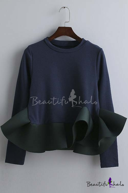Buy 2016 Autumn New Fashion Ruffle Hem Long Sleeve T-shirt