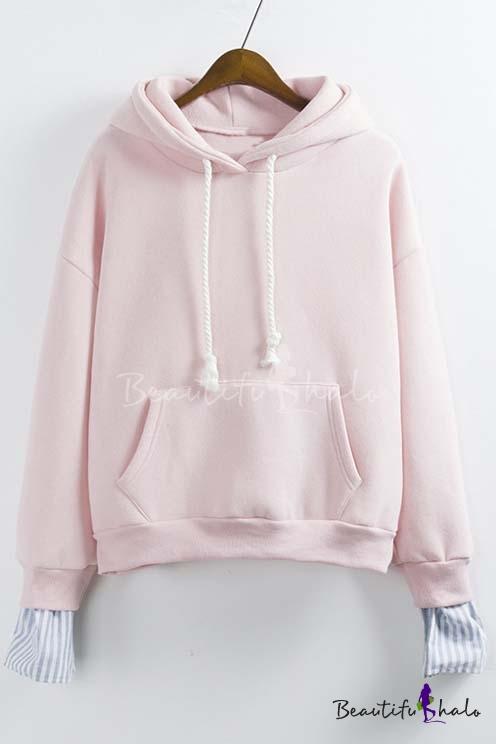 Buy 2016 Fashion Faux Two-piece Drawstring Hooded Sweatshirt Kangaroo Pocket