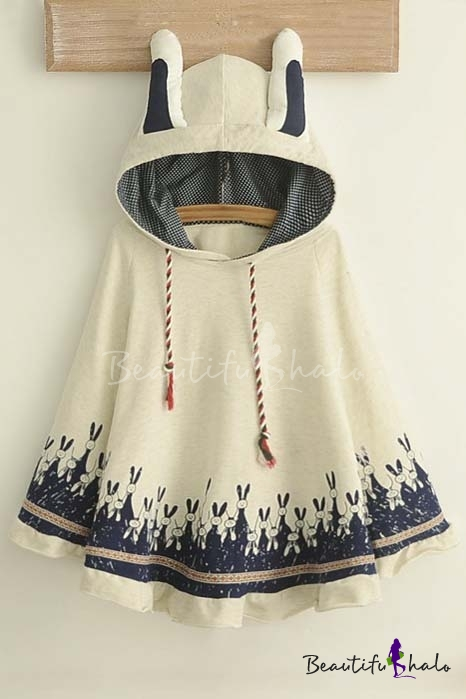Buy Lovely Rabbit Print Ears Hooded Neck Batwing Sleeve Cape