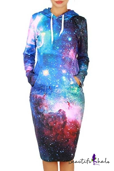 Buy Fashion Hoodie Neck Long Sleeve Galaxy Print Pencil Sweatshirt Dress