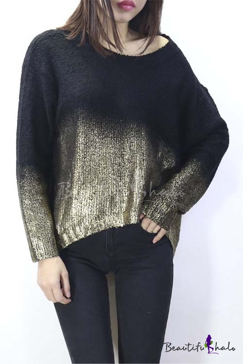 Buy Hot Females Knitted Bronzing Sweater Batwing Sleeve Gradient Loose Fall Winter Pullover