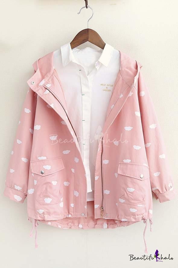 Buy 2016 Autumn New Cute Cloud Print Long Sleeve Hooded Coat