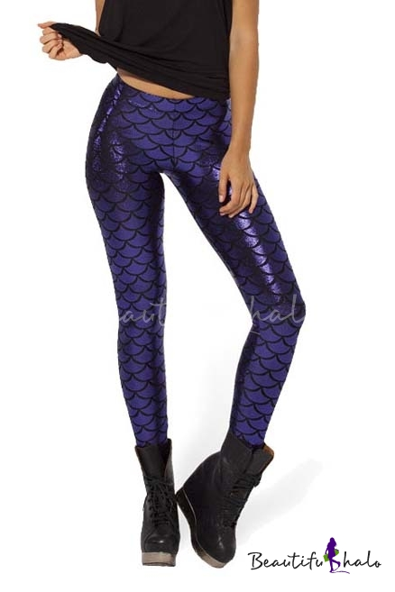 Buy Blink Sexy Fish Scale Print Cropped Pencil Leggings