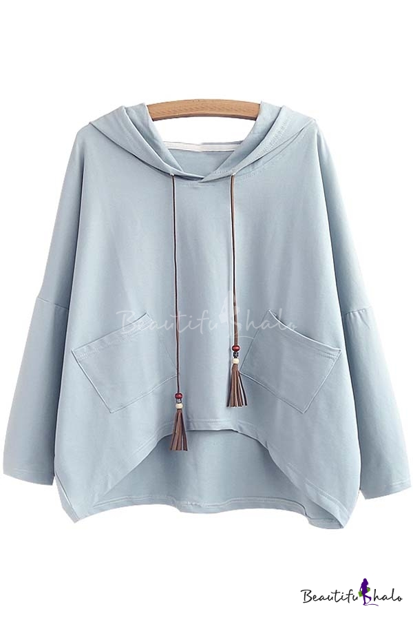 Buy Women's Casual Drawstring Hooded Hip Hem Sweatshirt Pocket
