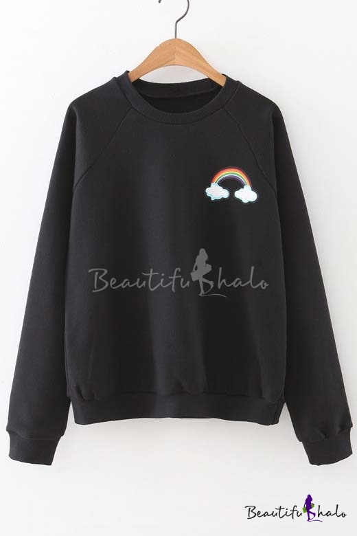 Buy 2016 Hot Rainbow Print Long Sleeve Round Neck Sweatshirt