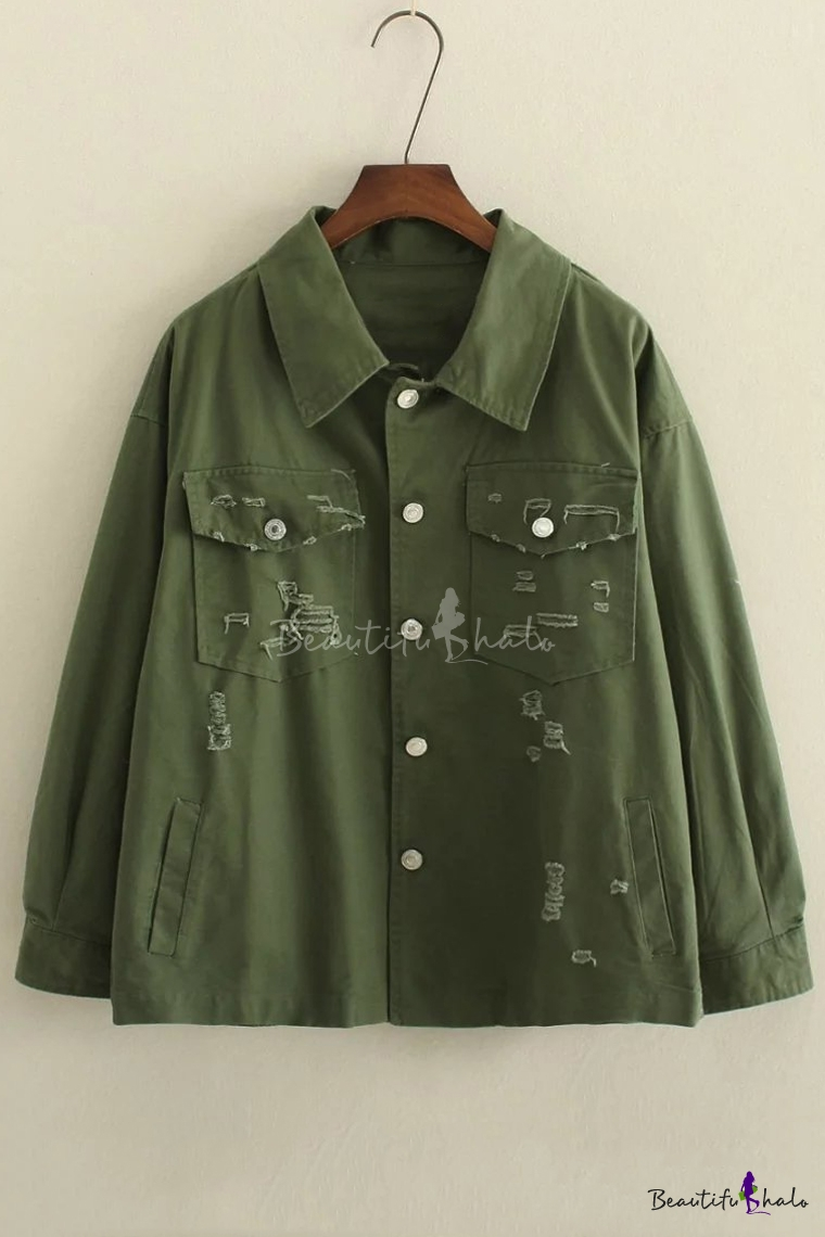 Buy Fall Winter Lapel Ripped Plain Pattern Single Breasted Long Sleeve Coat