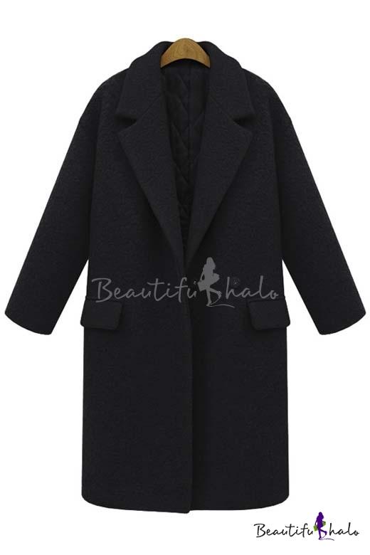 Buy Fall Winter Notched Lapel Long Sleeve Longline Wool Coat