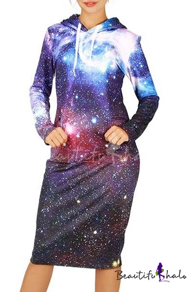 Buy Fashion Hoodie Neck Long Sleeve Galaxy Print Sweatshirt Dress