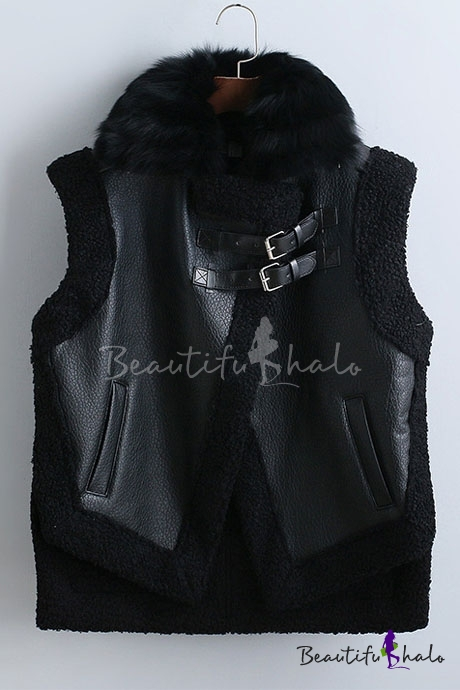 Buy Fall Winter Faux Fur Round Neck Sleeveless Leather Motorcycle Vest