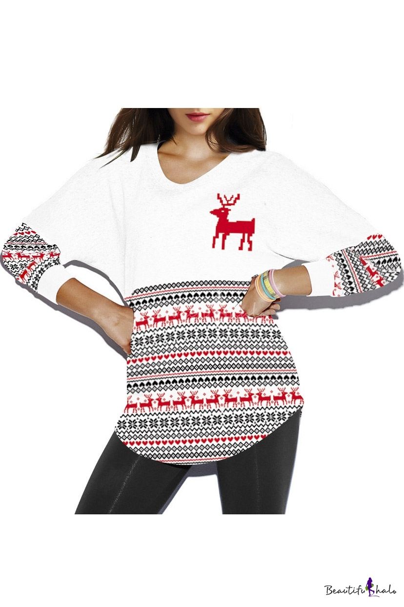 Stylish Digital Print Christmas Sweatshirt Round Neck Casual Batwing Sleeve Women's
