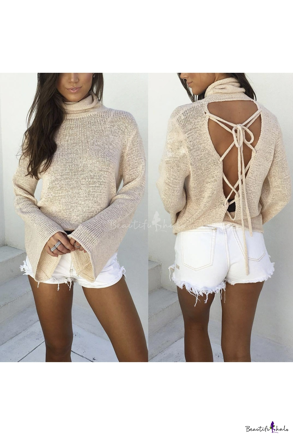 Buy Style Sexy Lace-Up Open Back Turtleneck Bell Sleeve Knitted Top