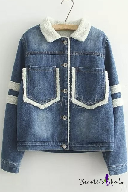 Buy Fall Winter Single Breasted Lapel Striped Panel Long Sleeve Fur Denim Jacket Two Pocket Front