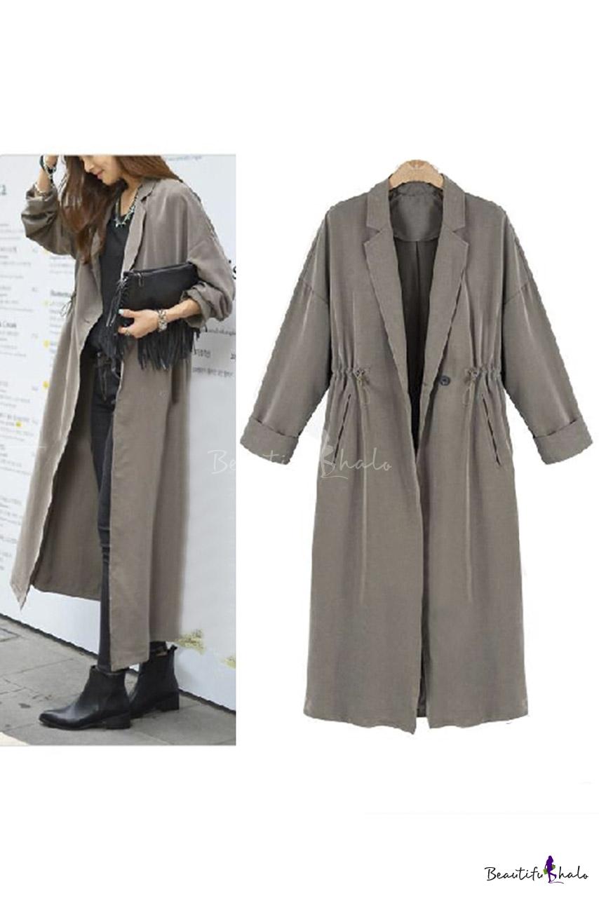 Buy Women Long Trench Coats Autumn Winter Casual Loose Lapel Coat Sleeve Open Drawstring Waist Outerwear