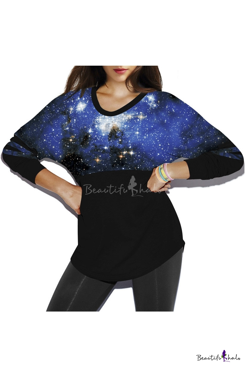 Buy Blue Galaxy Print Fashion Round Neck Pullover Batwing Sleeve Women's Sweatshirt