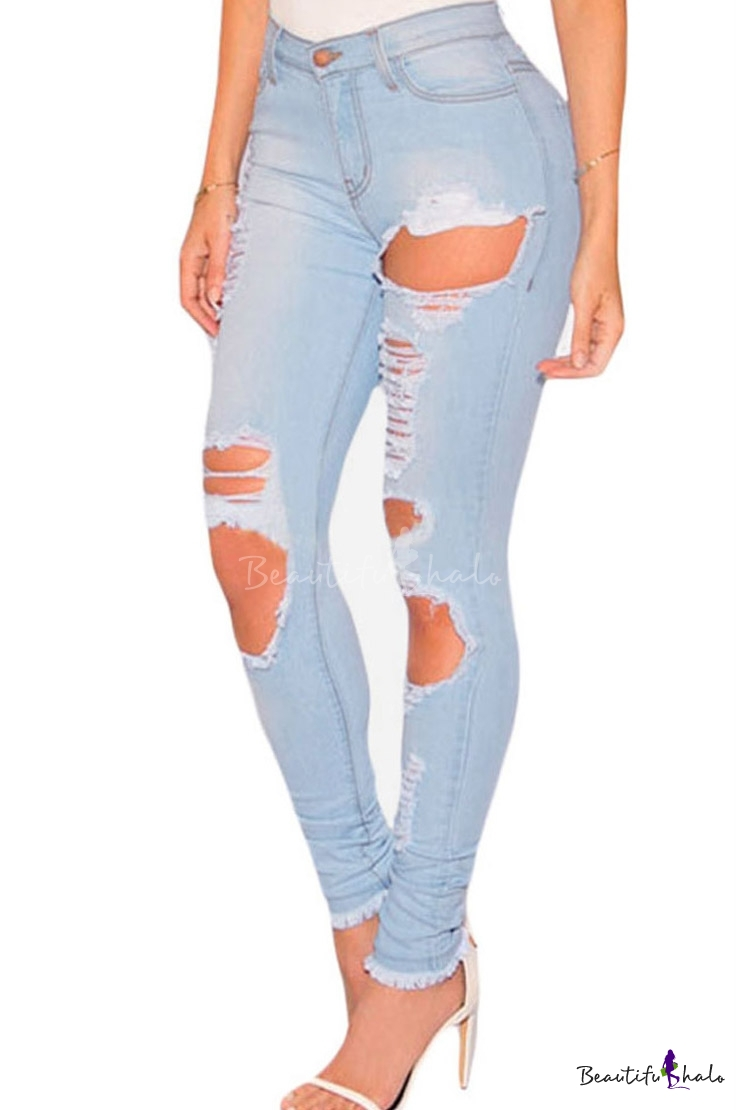 Buy Women Casual Destroyed Ripped Distressed Skinny Denim Jeans