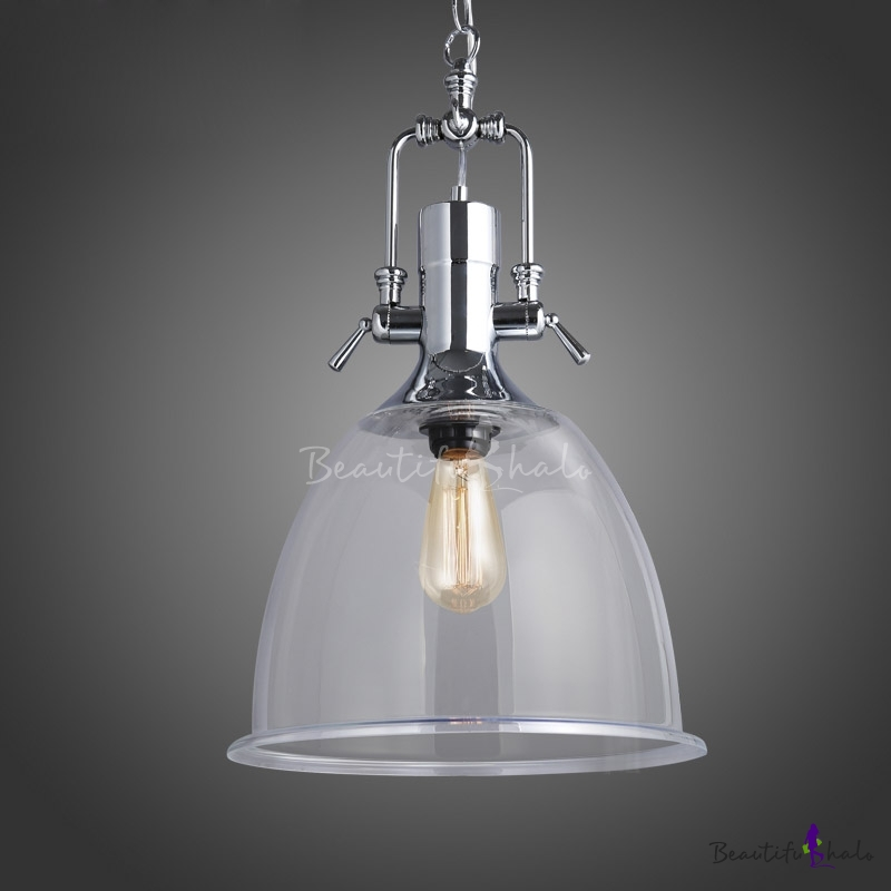Industrial Bell Pendant Light: Industrial Clear Glass Single Light Pendant With Bell