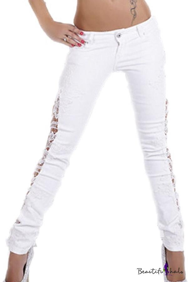 Buy Sexy Women Denim Skinny Jeans Crochet Lace Party Pants Trousers