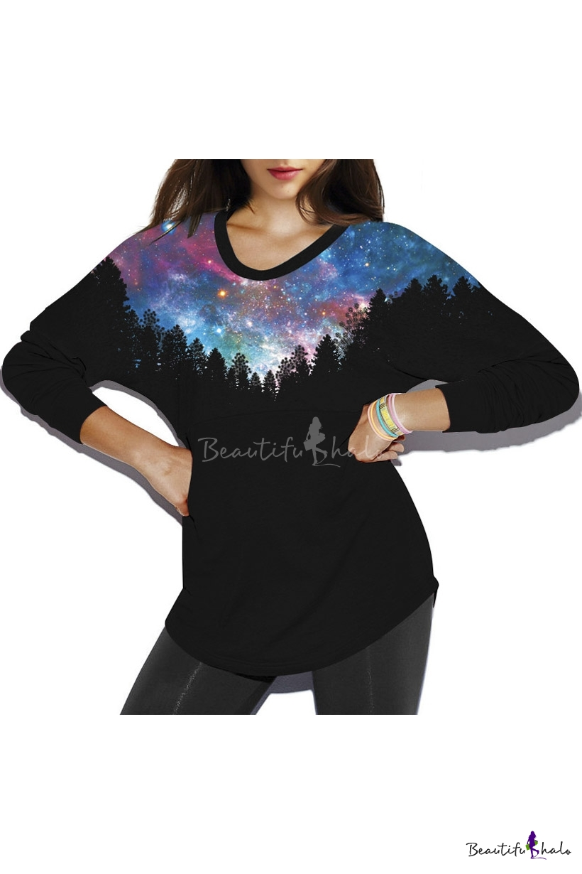 Buy Galaxy Print Round Neck Pullover Batwing Sleeve Women's Sweatshirt